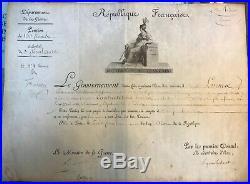 1091-AUTOGRAPHE-BONAPARTE-BERTHIER-MARET-BREVET DE PENSION-1er EMPIRE-1802