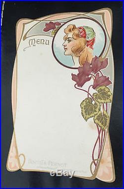 10 Menus Cartonnes 1900 Art Nouveau Femme Pernot