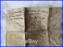 1212 Rare Parchemin Manuscrit Ancien Époque Moyen Ge Sceau En Cire