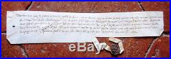 1363 GUERRE DE 100 ANS Parchemin médieval avec sceau payement gages de guerre