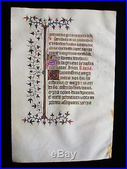 1370 Médiévale Parchemin, Superbe feuille Enluminé, Manuscript Vellum. S65