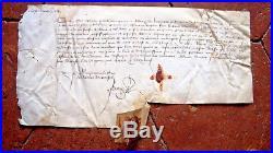 1411 GUERRE DE 100 ANS Parchemin médieval avec sceau payement faict de guerre