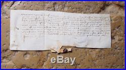 1412 GUERRE DE 100 ANS Parchemin médieval avec sceau Aide du Duc d'Orleans