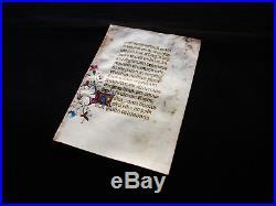 1420 rare Latin Manuscrit Médiéval illuminé sur PARCHEMIN, Livre d'Heures. B06