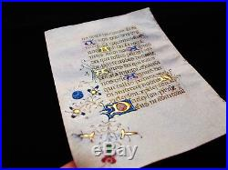 1420 rare Latin Manuscrit Médiéval illuminé sur PARCHEMIN, Livre d'Heures. W28