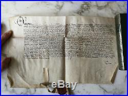 1517 Parchemin Manuscrit Ancien Époque Renaissance Sceau En Cire