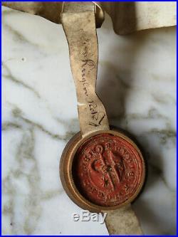 1570 Parchemin Manuscrit Ancien Époque Renaissance Sceau Cachet En Cire