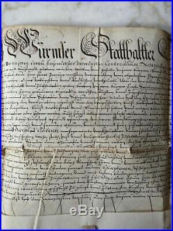 1611 PARCHEMIN MANUSCRIT ANCIEN DÉBUT XVIIè SCEAU EN CIRE STRASBOURG