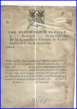1698. Louis XIV. Héraldique. Charles d' Hozier. Armoiries. Charles Racine. Ecuyer