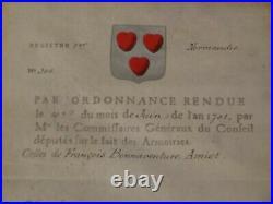 1701 Normandie Enregistrement des armoiries famille Amiot garde du corps du roi