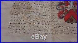 1701 PARCHEMIN ARMOIRIES aquarelle noblesse ANNE ACHILLE RAPINE signé D'HOZIER