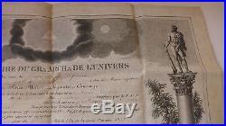 1827 PARCHEMIN Diplôme Franc-maçon de Maître loge LES AMIS REUNIS OR. DE VIHIERS
