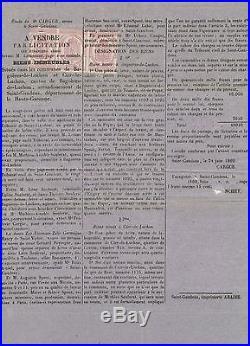 1869 JOURNAUX Bande de 3 N°1 2c lilas non dentelés Obl typo s. Affichette P3722