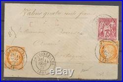 1877 Enveloppe Chargée SAGE + CERES à 1F55 très tardif RARE. X1356