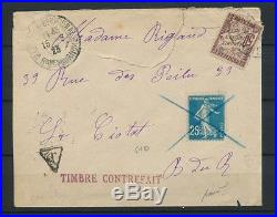 1923 Sur lettre 25c semeuse FAUX de NICE + tampon TIMBRE CONTREFAIT P4489