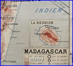 1949 Antique Map Carte d'école Rossignol Madagascar Réunion Indochine Française