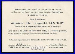 25 novembre 1963 JFK JF KENNEDY -faire part deces Notre-Dame de Paris Borniol