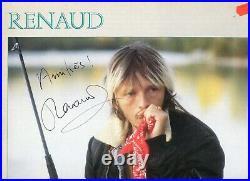 2 Autographes du Chanteur RENAUD sur LP 33T + Livre MISTRAL GAGNANT + Ticket