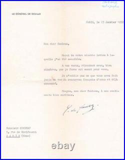 3 lettres tapuscrite signée Général Charles de Gaulle dédicace signed prix unité