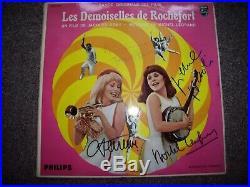 4 Autographes ORIGINAUX sur LP 33T Les Demoiselles de Rochefort Jacques DEMY