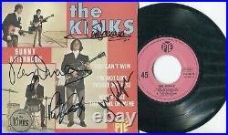 4 Autographes du Groupe Britannique THE KINKS Années Sixties Ray & Dave DAVIES