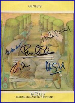 5 autographes ORIGINAUX du groupe GENESIS sur Pochette LP 33T Année 1973
