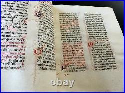 8 feuillets manuscrits sur vélin, fragment d'ouvrage ancien, circa 1450