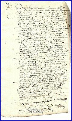9 parchemins manuscrits, 1604 à 1657, 44pages (voir descriptif)