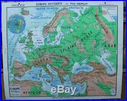 A940 rare carte scolaire ancienne Hatier 13 Europe physique 2 face 122100 cm