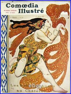 AFFICHE Léon BAKST Ballets russes Comoedia Illustré N°17 1911 affiche polychrome