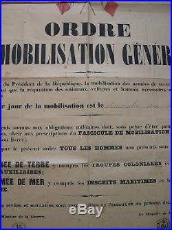 AFFICHE ORIGINALE MOBILISATION GENERALE 1914 ww1