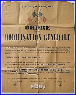 AFFICHE ORIGINALE MOBILISATION GENERALE 1939 état moyen