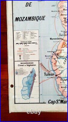 AFFICHE SCOLAIRE CARTE VIDAL LABLACHE N° 36 INDOCHINE MADAGASCAR Années 50/60