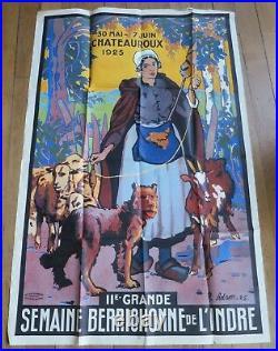 AFFICHE Semaine Berrichonne de l'Indre CHATEAUROUX 1925 illustrateur R ADAM