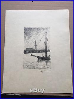 ALBERT MARQUET bordeaux rare lithographie originale signée justifiée au crayon
