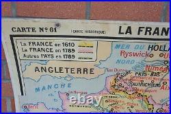 ANCIENNE CARTE SCOLAIRE HATIER 63 LA FRANCE DE 1610 à 1789 P BRIARD VIDAL