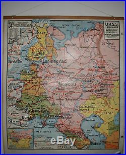 ANCIENNE CARTE SCOLAIRE VIDAL LABLACHE URSS FINLANDE N°34 et 34 B