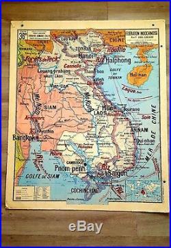 ANCIENNE RARE CARTE SCOLAIRE INDOCHINE/MADAGASCAR N° 36/36B Vidal/Lablache