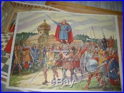 ANCIEN CADRE EN BOIS AFFICHES SCOLAIRE HISTOIRE VERSAILLES COLBERT rossignol