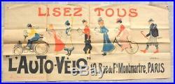 Affiche. George Paulle. Lisez tous l'Auto-Vélo. Vers 1900. Cyclisme