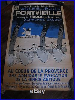 Affiche ORIGINALE 1935 / Léo Lelée / PLM Arles Baux Fontvieille / Provence