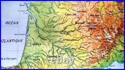 Affiche Scolaire Carte Vidal Lablache N° 63 Region Aquitaine. Tres Bon Etat