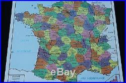 Affiche Scolaire vintage France Départements Population 90,575,5 cm rossignol