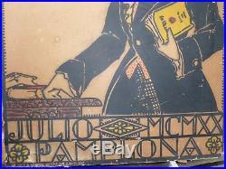 Affiche ancienne congrès des étudiants Basques juillet 1920 Pampelune