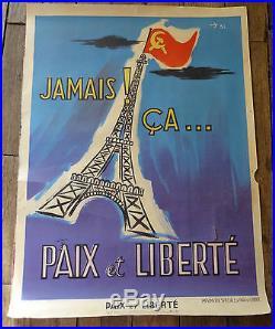 Affiche politique anticommuniste paix et liberté Jamais ça 1950's