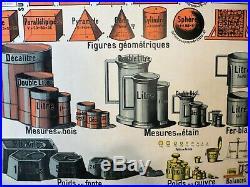 Affiche scolaire Armand Colin Système Métrique ancien type carte Vidal Lablache