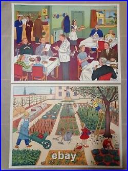 Affiche scolaire ancienne rossignol avec cadre ancien lot école