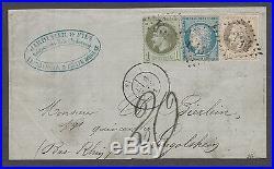 Affranchissement SEPTEMBRE 1871 + ALSACE-LORRAINE signé JF BRUN (devant, RRR)