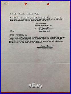 Albert EINSTEIN Pièce signée 1947 / Nobel