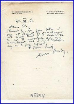 Aldous Huxley / Lettre Autographe Signée (1960) / Le Meilleur Des Mondes